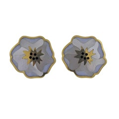 Tiffany & Co. Gold Mother-of-Pearl Onyx Flower Earrings