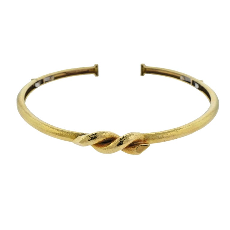 David Webb Twisted Nail Hammered Gold Collar Necklace