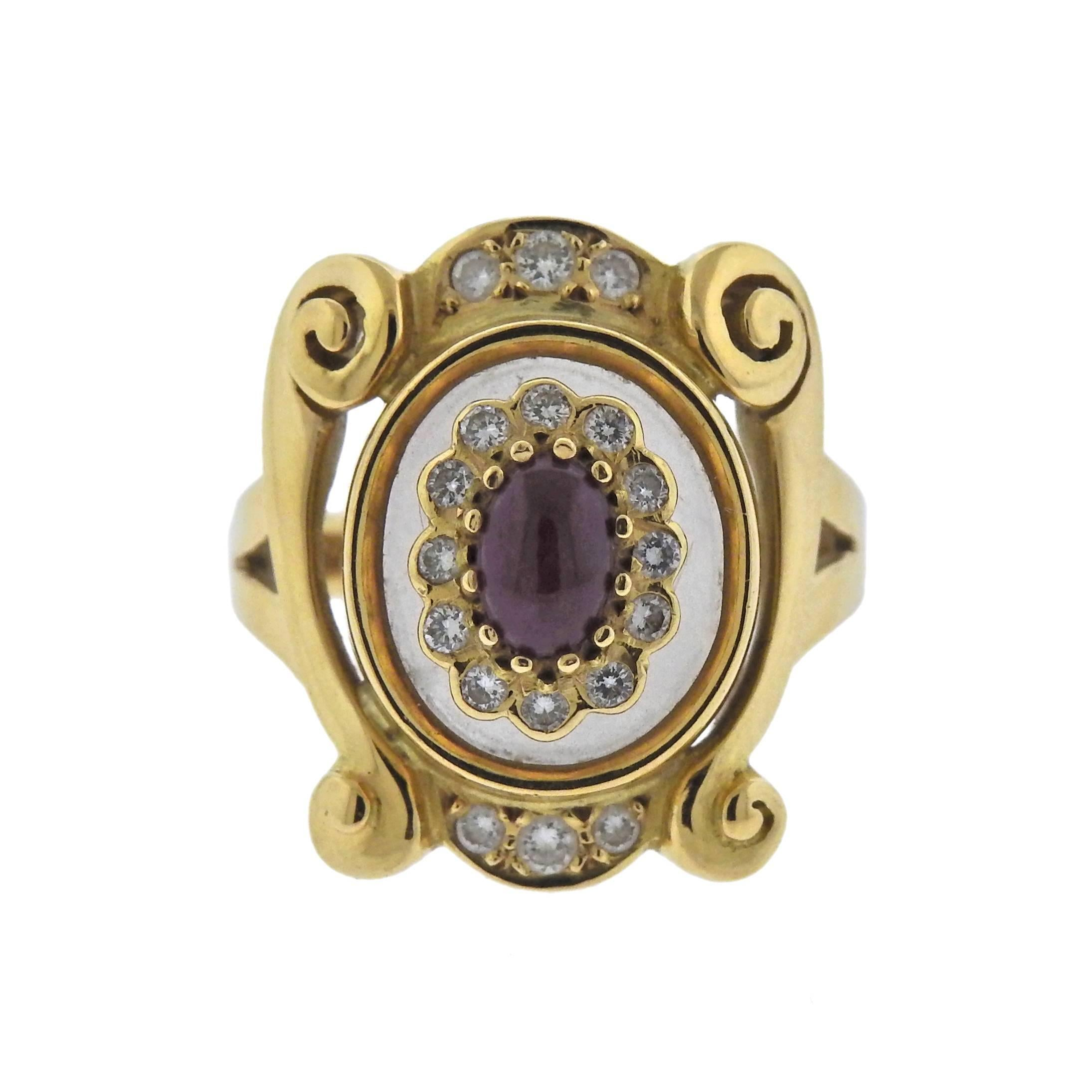 Lalaounis Greece Diamond Ruby Crystal Gold Ring