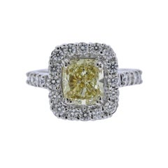 GIA Natural Fancy Yellow 3 Carat Diamond Gold Engagement Ring