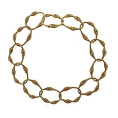 1980s Angela Cummings Ruby Gold Link Necklace