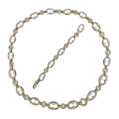 David Webb White Enamel Gold Necklace Bracelet Suite