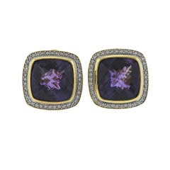 David Yurman Albion Amethyst Diamond Gold Earrings