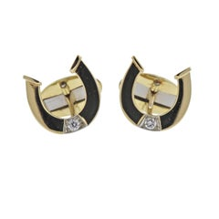 Bulgari Diamond Gold Lucky Horseshoe Cufflinks