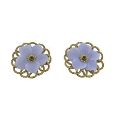 Buccellati Carved Chalcedony Emerald Gold Flower Earrings