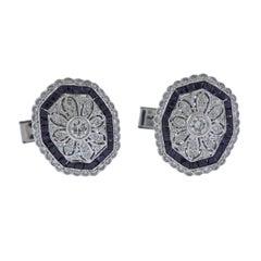 Classic Diamond Sapphire Gold Cufflinks