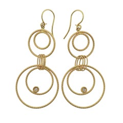Roberto Coin Moresque Diamond Gold Circle Drop Earrings