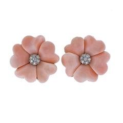Coral Diamond Gold Flower Earrings