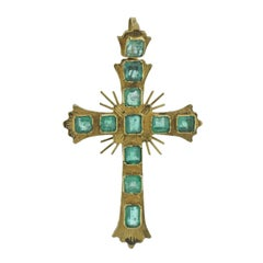 Antique Continental Emerald Gold Cross Pendant
