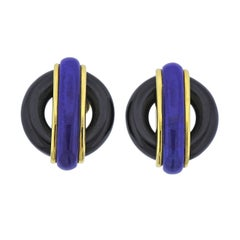 Aldo Cippulo 1970s Onyx Lapis Gold Earrings