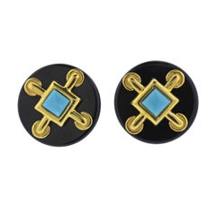 Aldo Cippulo 1970s Onyx Turquoise Gold Earrings