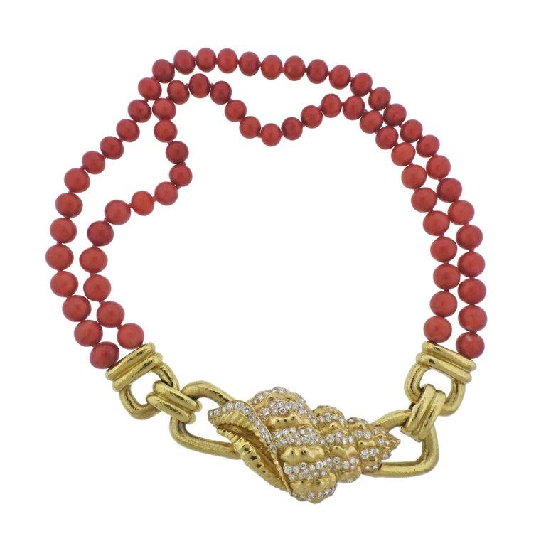 David Webb Coral Bead Diamond Gold Shell Motif Necklace