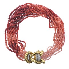 David Webb Coral Bead Diamond Gold Platinum Necklace