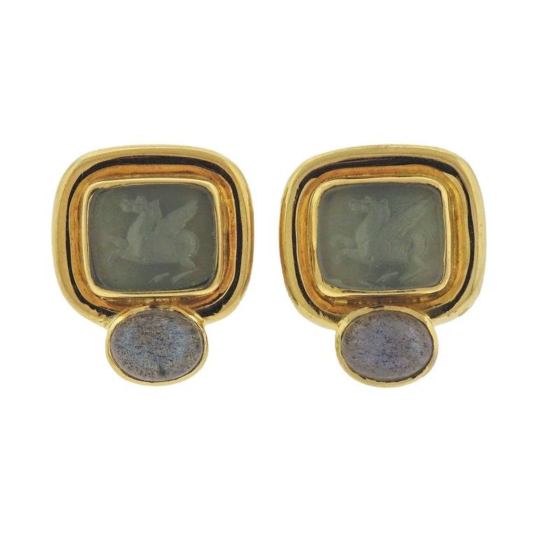 Elizabeth Locke Labradorite Venetian Glass Intaglio Gold Earrings