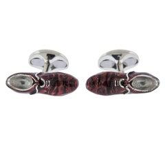Deakin & Francis Silver Enamel Brogue Shoes Cufflinks