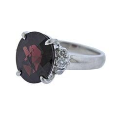 6.81 Carat Garnet Diamond Platinum Ring