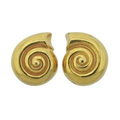 Lalaounis Greece Shell Motif Gold Earrings