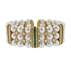 Sapphire Ruby Emerald Diamond Pearl Gold Bracelet