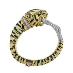 Rare David Webb Diamond Emerald Platinum Gold Tiger Bracelet