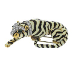 Rare David Webb Diamond Emerald Platinum Gold Tiger Brooch