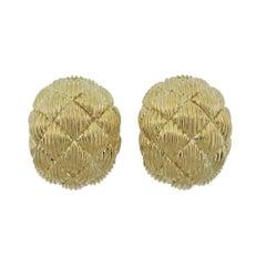 David Webb Woven Gold Half Hoop Earrings
