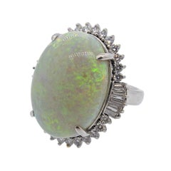 24 Carat Opal Diamond Platinum Large Cocktail Ring