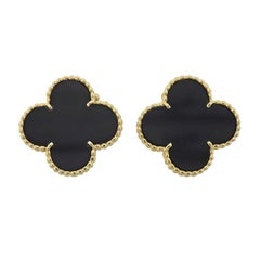 Van Cleef & Arpels Magic Alhambra Large Onyx Gold Earrings