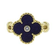 Van Cleef & Arpels Alhambra Lapis Diamond Gold Ring