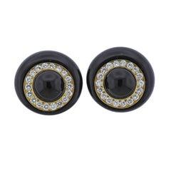 1980s Diamond Onyx Gold Earrings