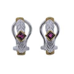 Buccellati Diamond Ruby Gold Small Earrings