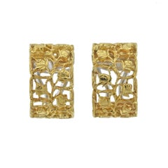 Buccellati Yellow Gold Rose Hoop Earrings