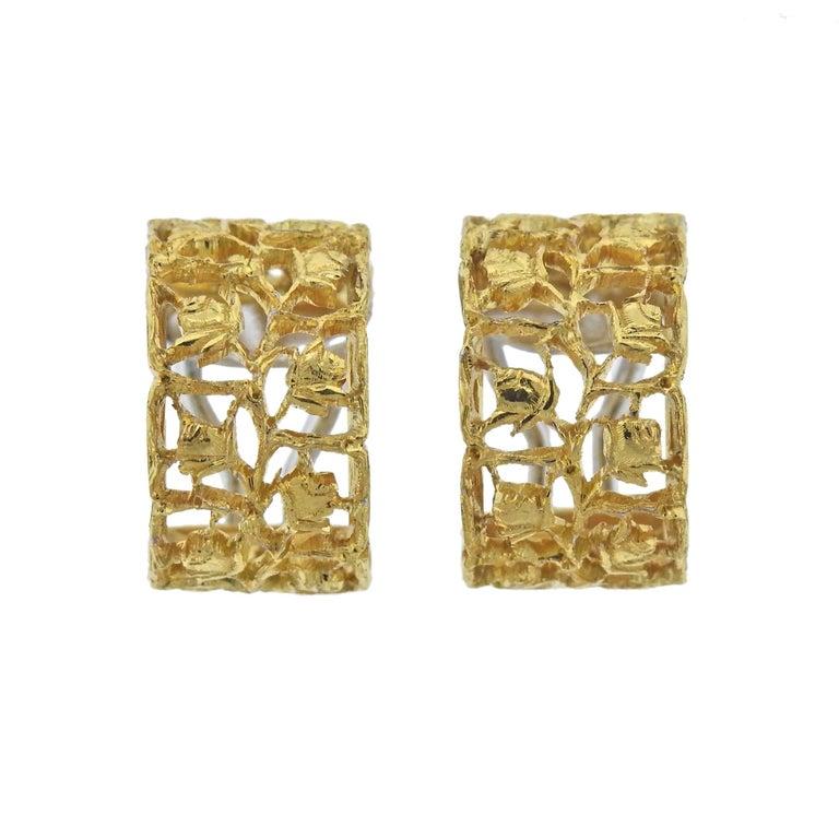 Buccellati Yellow Gold Rose Hoop Earrings