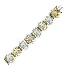 1974 Andrew Grima Pearl Diamond Gold Honeycomb Bracelet