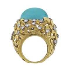 1970s Turquoise Diamond Gold Ring