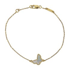 Van Cleef & Arpels Sweet Alhambra Mother-of-Pearl Butterfly Gold Bracelet