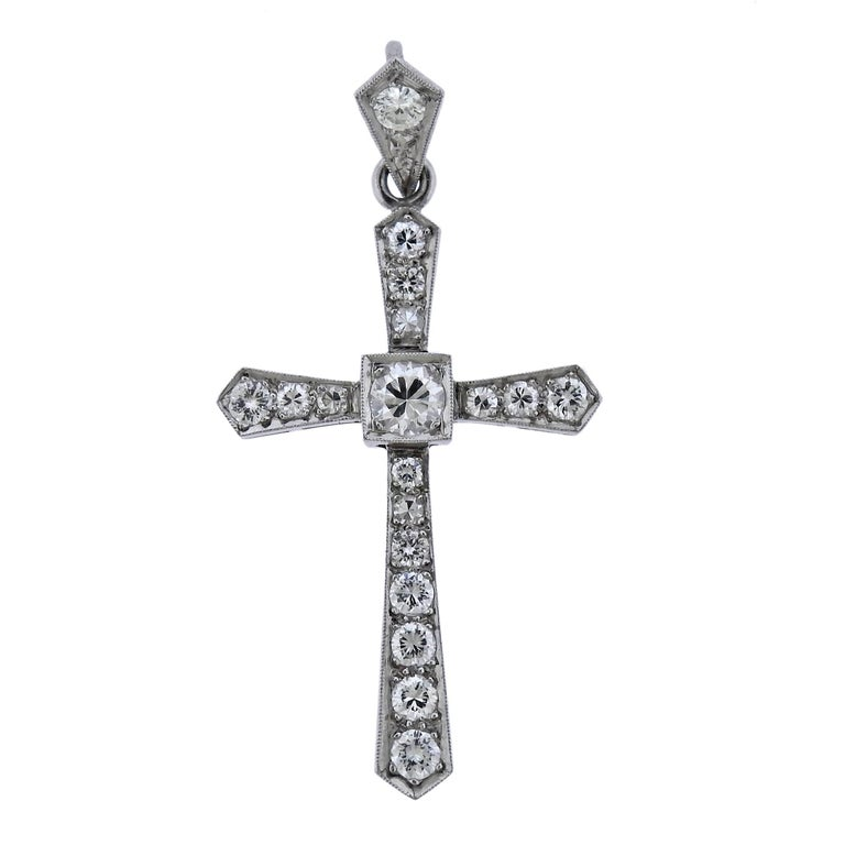 Art Deco Platinum Diamond Cross Pendant