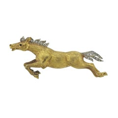 Buccellati Diamond Gold Running Horse Brooch Pin