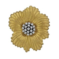 Buccellati Blossoms Flower Diamond Gold Brooch Pendant