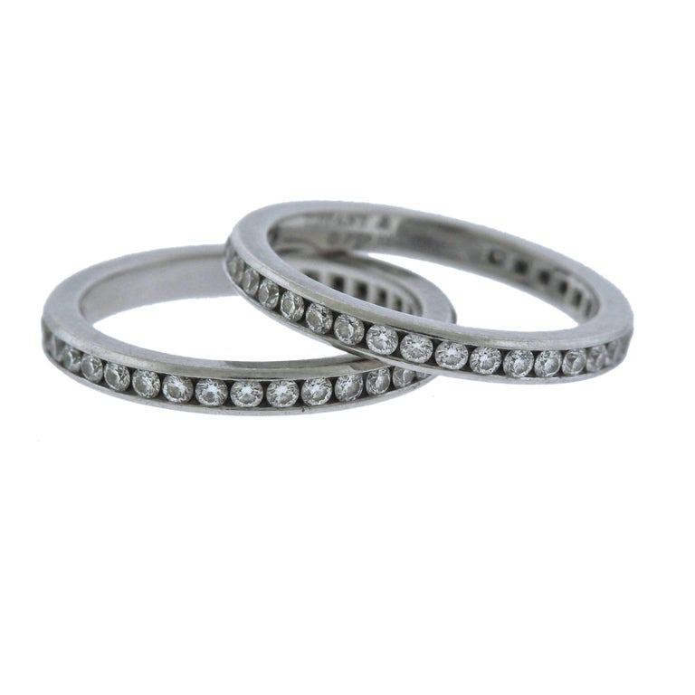 Tiffany & Co. Platinum Diamond Eternity Wedding Band Ring Set
