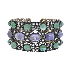 Buccellati One of a Kind Sapphire Emerald Diamond Gold Silver Bracelet