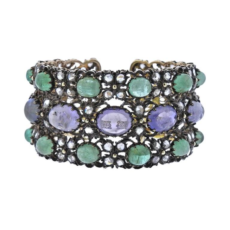 Buccellati One of a Kind Sapphire Emerald Diamond Gold Silver Bracelet