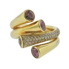 Gubelin Multi-Color Sapphire Diamond Gold Ring
