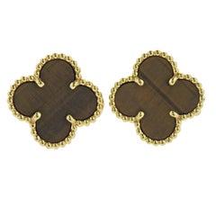 Van Cleef & Arpels Vintage Alhambra Tiger's Eye Gold Earrings
