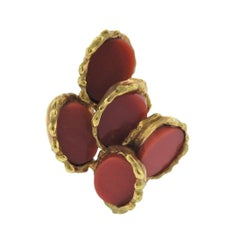 Chaumet Paris 1970s Coral Gold Ring
