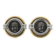 Bulgari Monete Ancient Coin Campania Phistelia 4th Century B.C. Gold Earrings
