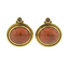 Elizabeth Gage Persian Queen Amber Diamond Gold Earrings