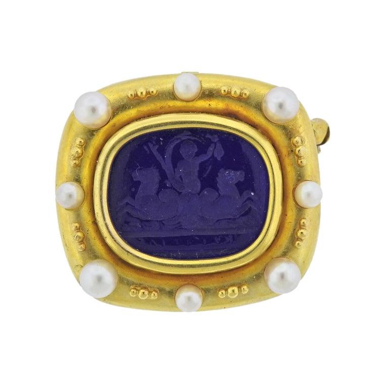 Elizabeth Locke Venetian Glass Intaglio Pearl Gold Brooch Pendant