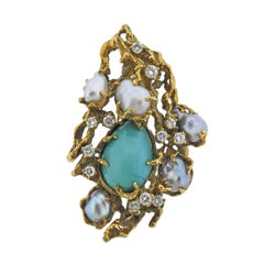 Arthur King 1970s Diamond Pearl Turquoise Gold Free Form Brooch