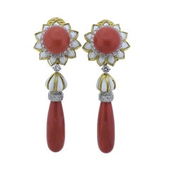David Webb Coral Diamond Platinum Gold Day and Night Earrings