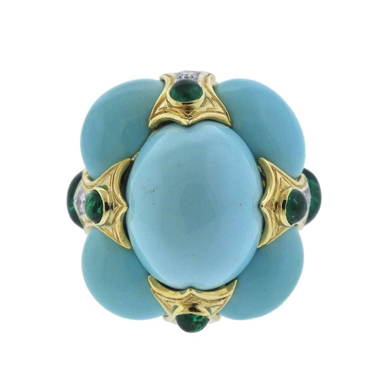 Large 18k gold and platinum cocktail ring, crafted by David Webb, set with 35.81ctw in turquoise, 2.71ctw emerald cabochons and 0.43ctw GH/VS diamonds. Retail $32000.  Ring size - 6.5, ring top - 28mm x 28mm, sits approx. 19mm from top of the